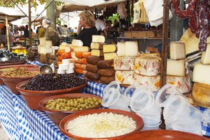 Olives and cheese are typical products of the region at the markets in the surrounding area.